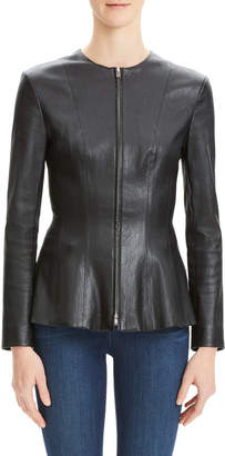 Theory Movement Fitted Zip-Front Leather Peplum Jacket