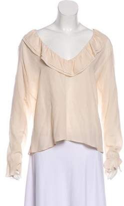 Anine Bing Silk Plunging Neck Blouse