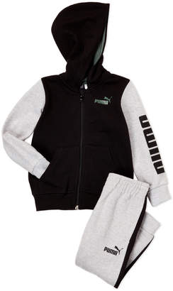Puma Toddler Boys) Two-Piece Color Block Zip-Up Hoodie & Joggers Set