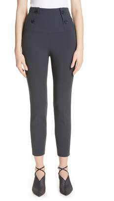 Tibi Anson Button Waist Skinny Pants