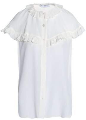 Sandro Ruffled Silk Crepe De Chine Shirt