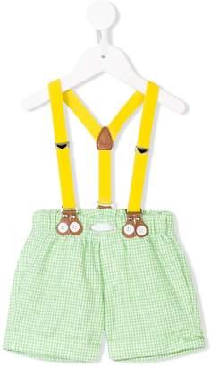 Mi Mi Sol checked dungaree shorts
