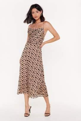 Nasty Gal Womens Spot On The Mark Polka Dot Midi Dress - Beige - 12, Beige