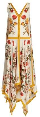 Alexander Mcqueen - Floral Print Rouleau Button Sleeveless Dress - Womens - Ivory Multi