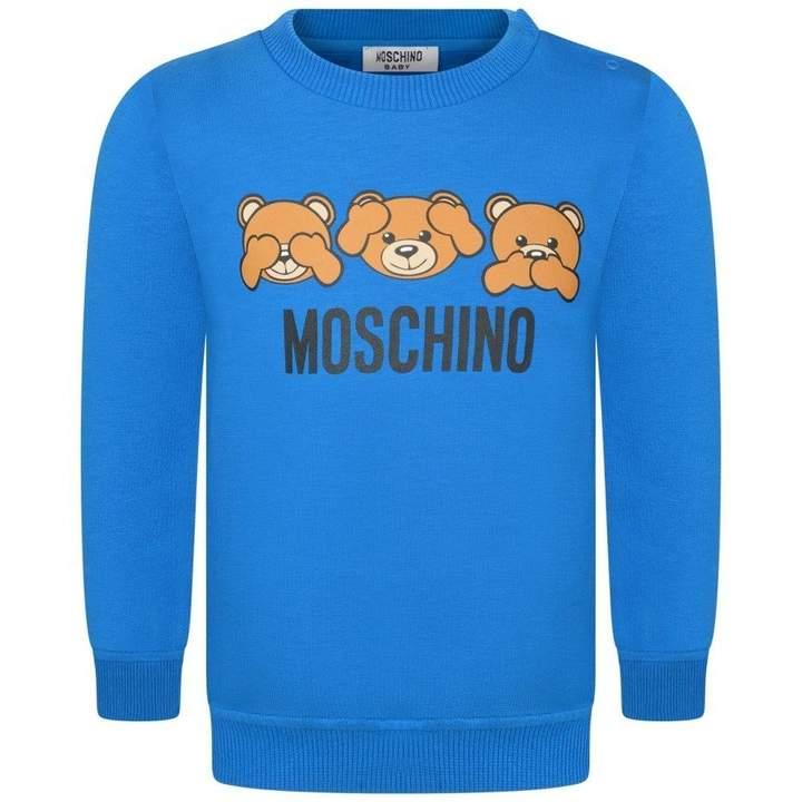 MoschinoBlue Teddy Print Baby Sweater