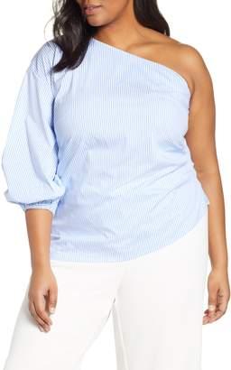 d7715fa250da51 ELOQUII One-Shoulder Puff Sleeve Blouse