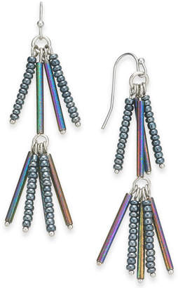 INC International Concepts I.N.C. Silver-Tone Iridescent Bead Linear Drop Earrings, Created for Macy's
