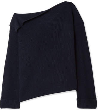 Vince One-shoulder Ribbed Cashmere Sweater - Navy