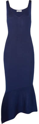 Thierry Mugler Asymmetric Stretch-knit Midi Dress - Storm blue