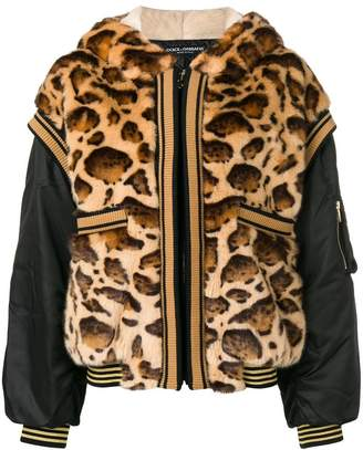Dolce & Gabbana leopard oversized hooded jacket