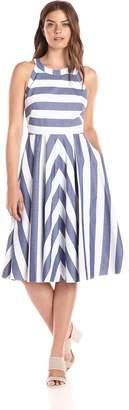 Eliza J Women's Stripe Fit and Flare Dress, Pink/Multi