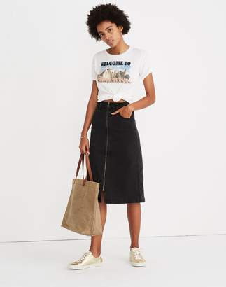 Madewell Denim Zip Midi Skirt in Lunar Wash
