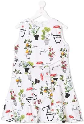 Oscar de la Renta Kids flower pots print dress