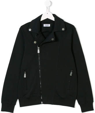 Moschino Kids zipped biker jacket