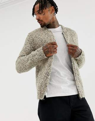 Asos Design DESIGN heavyweight textured bomber jacket in oatmeal