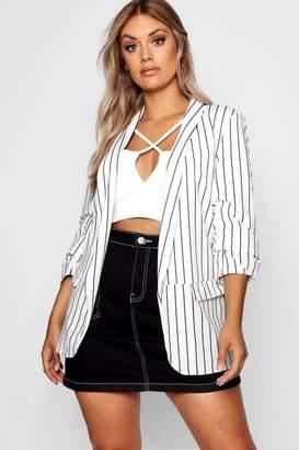 boohoo Plus Striped Blazer