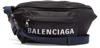 Balenciaga Logo Embroidered Belt Bag - Womens - Black Navy