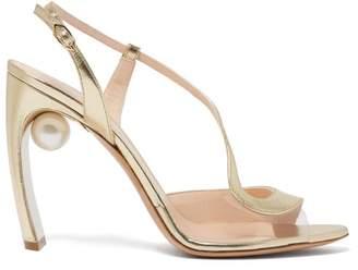 Nicholas Kirkwood Maeva S Pearl Heeled Leather Sandals - Womens - Light Gold