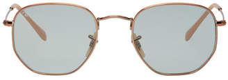 Ray-Ban Copper and Blue Hexagonal Sunglasses