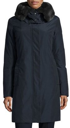Woolrich Bow Bridge Hooded Tech-Fabric Jacket, Dark Navy $850 thestylecure.com