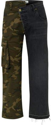 Monse Paneled Mid-rise Straight-leg Jeans - Black