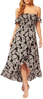 Dex Leaf-Print Ruffled Maxi Dress