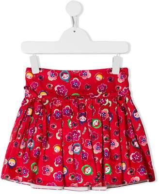 Simonetta pleated printed skirt