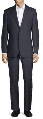 Saks Fifth Avenue BLACK Mini Checkered Wool Suit