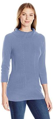 Sag Harbor Women's Cowl Neck Pullover Cashmerlon Sweater with Cable and Ribbed Front
