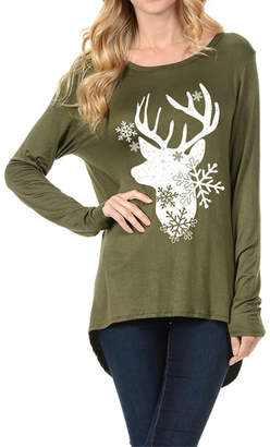 FLAKE Coloring You Deer & Snow Festive Winter Top