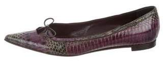 Manolo Blahnik Multicolor Snakeskin Flats