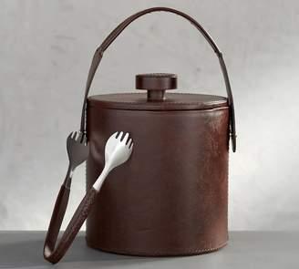 Pottery Barn Saddle Leather Lidded Ice Bucket & Tongs