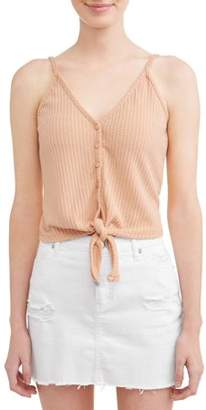 Poof! Juniors' Waffle Knit Tie Front Button Cami