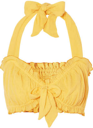She Made Me Kali Bow-embellished Halterneck Crinkled-cotton Top - Yellow