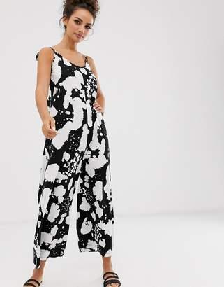Asos Design DESIGN minimal jumpsuit with tie back in reverse mono print