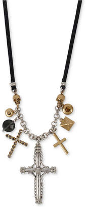 """Lucky Brand Two-Tone Crystal Cross Leather Charm Necklace, 29-1/2"""" + 2"""" extender"""