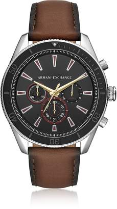 Emporio Armani Enzo Silver Tone and Burnished Leather Chronograph Men's Watch