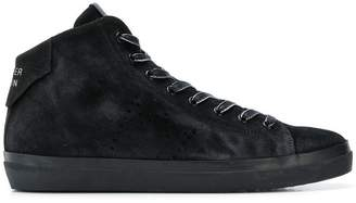 Leather Crown smooth lace-up sneakers
