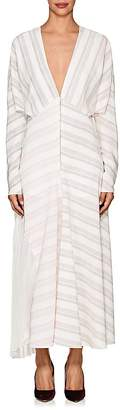 Victoria Beckham Women's Striped Silk Zip-Front Maxi Dress