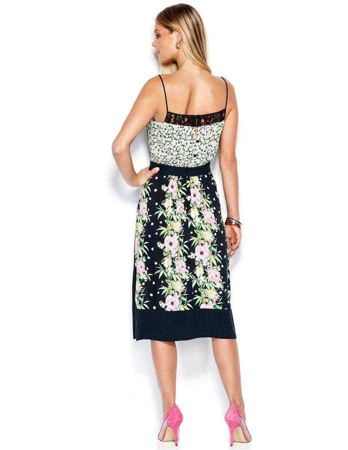 French Connection Spaghetti-Strap Floral-Print Lace Midi Dress
