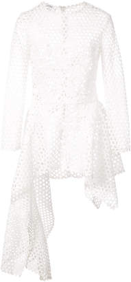 Oscar de la Renta asymmetric peplum perforated blouse