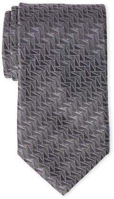 Lanvin Grey Triangle Print Silk Tie