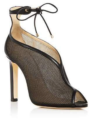 Jimmy Choo Women's Sheldon 100 Leather & Mesh Ankle Tie High-Heel Booties
