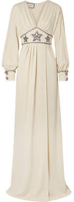 Gucci Crystal-embellished Wrap-effect Georgette Gown - Ivory