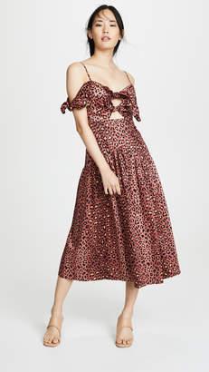 Rebecca Taylor Sleeveless Leopard Bow Dress