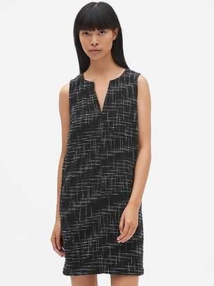 Gap Sleeveless Split-Neck Shift Dress in Tweed