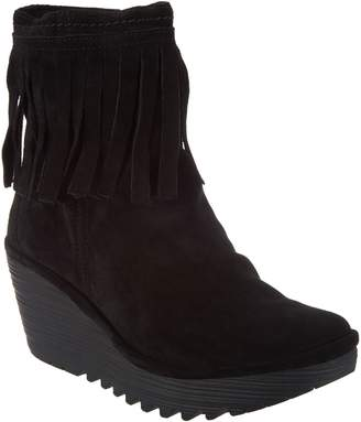 Fly London Suede Ankle Boots with Fringe - Yagi