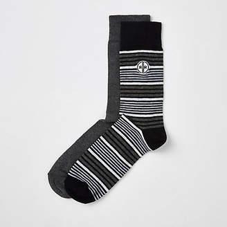River Island Grey stripe socks 2 pack