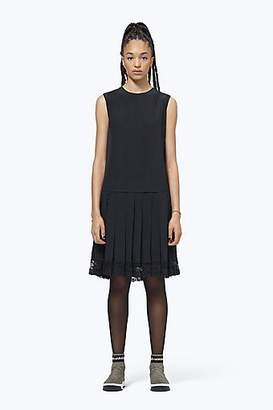 CONTEMPORARY Silk Pleated Drop-Waist Dress With Lace Hem