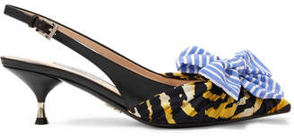 Prada Bow-embellished Leather And Printed Canvas Slingback Pumps - Blue